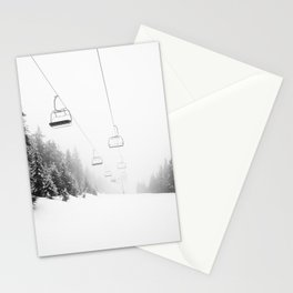 Snow Lift // Ski Chair Lift Colorado Mountains Black and White Snowboarding Vibes Photography Art Print Stationery Cards