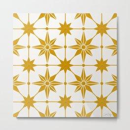 Starburst Mosaic – Ochre Palette Metal Print