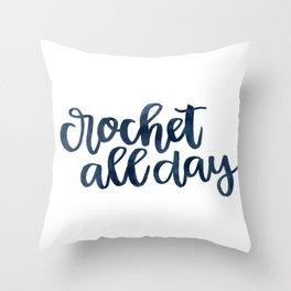 Crochet All Day - Navy Throw Pillow