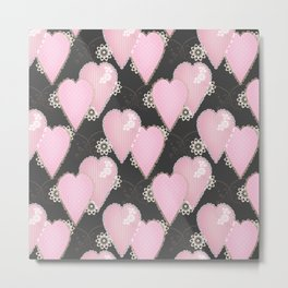 Retro . Applique. Textile pink hearts on a grey background . Patchwork . Metal Print