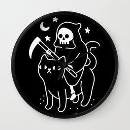 Death Rides A Black Cat Wall Clock
