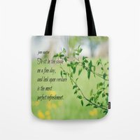 jane austen Tote Bags featuring Jane Austen Refreshment by KimberosePhotography