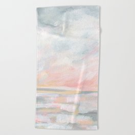 Overwhelm - Pink and Gray Pastel Seascape Beach Towel