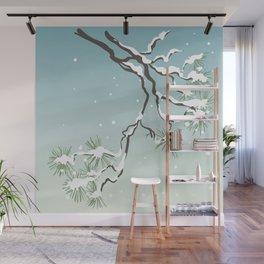 Snowy Japanese Pine Wall Mural