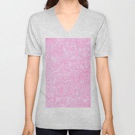 Pink Shiny Glitter Abstract Bokeh  Unisex V-Neck