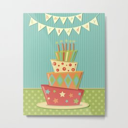 Happy Birthday Bunting Crazy Fun Cake Metal Print