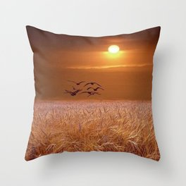 bird and yellow Throw Pillow