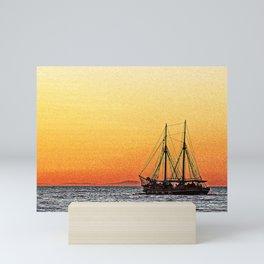 sunset sailing boat Mini Art Print