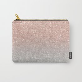 Modern trendy rose gold glitter ombre silver glitter Carry-All Pouch