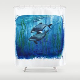 """Maui's Magic"" by Amber Marine ~ (Maui's Dolphins) Watercolor Painting, (Copyright 2016) Shower Curtain"