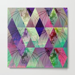 Geometric acid Dragon Metal Print