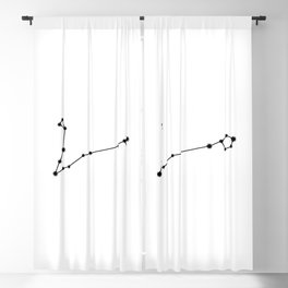 Pisces Star Sign Black & White Blackout Curtain