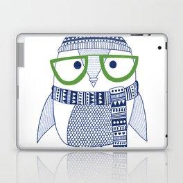 Hipster owl - green glasses Laptop & iPad Skin