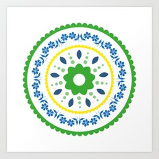 Green suzani inspired floral round placement Art Print