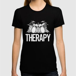 Drummers Therapy Drum Set Cartoon Illustration T-shirt