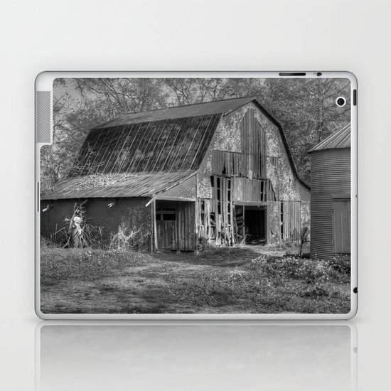 Old Barn in Black and White Laptop & iPad Skin