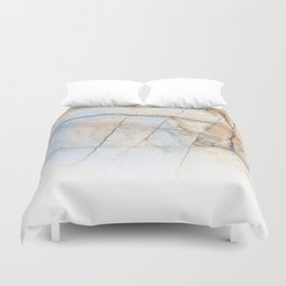 Cotton Latte Marble - Ombre blue and ivory Duvet Cover