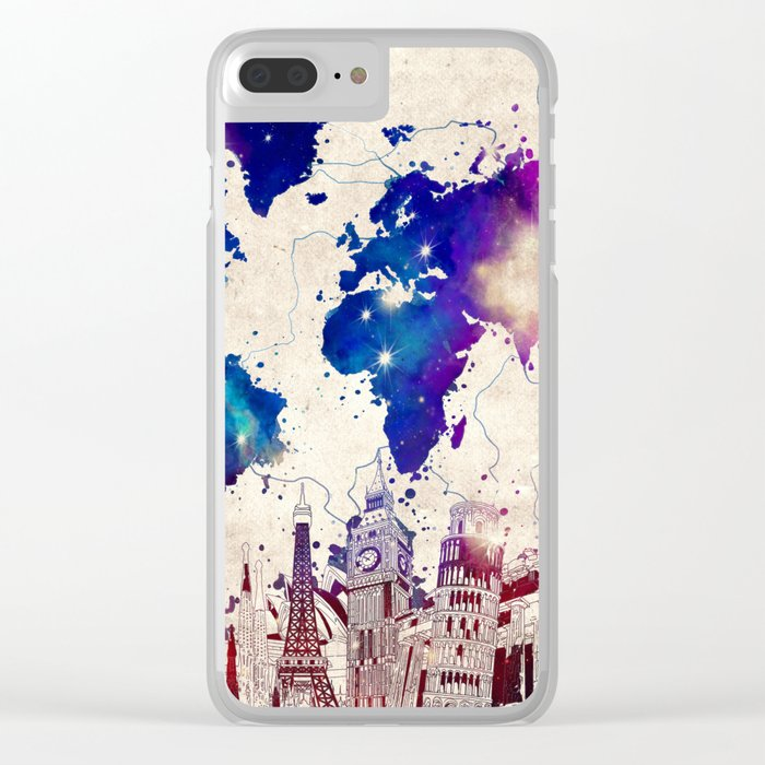 world map city skyline galaxy 2 Clear iPhone Case