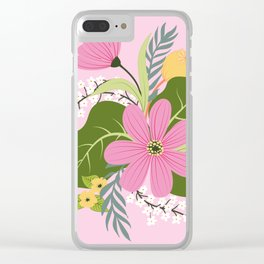 Blooming Colorful Composition Pink Clear iPhone Case