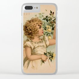 Little girl picking yellow roses Maud Humphrey Clear iPhone Case