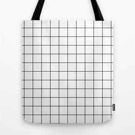 Grid Simple Line White Minimalist Tote Bag
