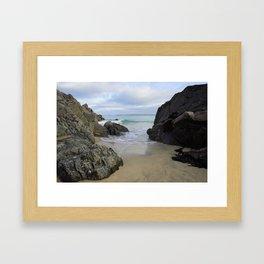 Turquoise Waves Crashing on Porthmeor Rocks Framed Art Print