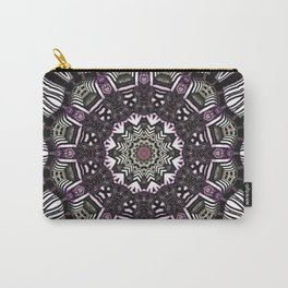 Mandala in black and white with hint of purple and green Carry-All Pouch