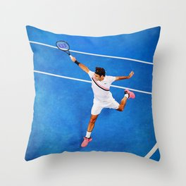 Flying Federer Tennis Backhand Throw Pillow