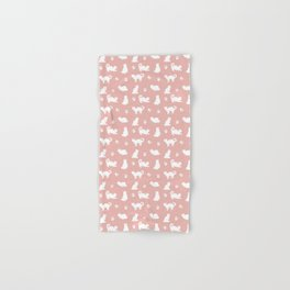 White Cats on Rose Gold Pattern Hand & Bath Towel