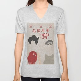 In the mood for love, minimal movie poster, Wong Kar-wai, Tony Leung, Maggie Cheung, Hong Kong film Unisex V-Neck
