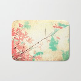 Textured Fall (Vintge Fall pink - orange leafs on textured clouds and blue sky) Bath Mat