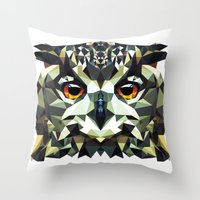 polygon Throw Pillows featuring Polygon Owl by Andrew Mason
