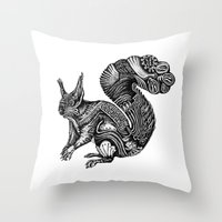 squirrel Throw Pillows featuring Squirrel by Rebexi