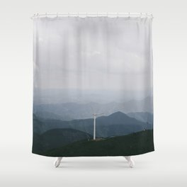Nostalgia-Home Blue Shower Curtain