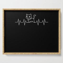 Cat EKG Heartbeat Pulse Gift Serving Tray