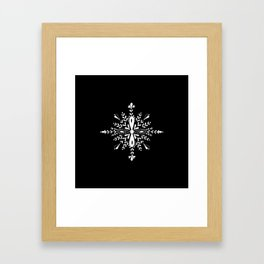 Winter in black and white - Snowflakes pattern Framed Art Print