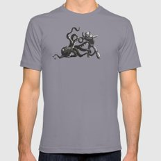 Octopus Wrestling with a Robot Slate Mens Fitted Tee SMALL