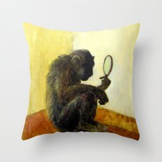 Monkey in the Mirror Throw Pillow