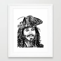 jack sparrow Framed Art Prints featuring Jack Sparrow by Brittney Patterson