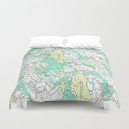 Space Toons in Pastel Greens and Yellow Duvet Cover