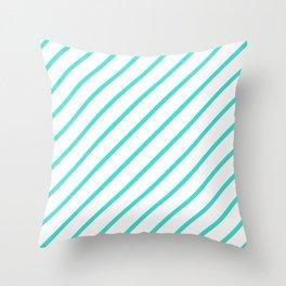 Diagonal Lines (Turquoise/White) Throw Pillow