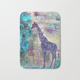 Majestic Series: Giraffe having a berry Bath Mat