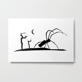 Dark Scene Silhouette Style Graphic Illustration Metal Print