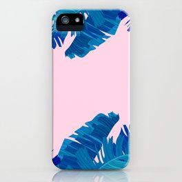 Hand painted navy blue blush pink watercolor tropical leaves iPhone Case
