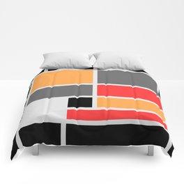 Mondrianista orange red black and gray Comforters