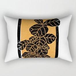 Fiddle Leaf Fig Block Print (Orange) Rectangular Pillow