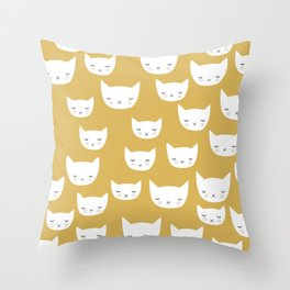 Sweet sleepy kitty cats kawaii baby animals kids pattern Throw Pillow