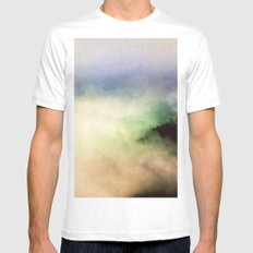 Ethereal Rainbow Clouds MEDIUM White Mens Fitted Tee
