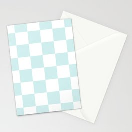 Large Checkered - White and Light Cyan Stationery Cards