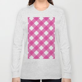 Pink & White Checkered Pattern-Mix and Match with Simplicity of Life Long Sleeve T-shirt